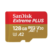SanDisk Extreme PLUS microSDXC 128GB - 170MB/s R/90MB/s W, A2 C10 V30 UHS-I, Adapter