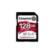 Kingston 128GB SecureDigital Canvas React (SDXC) Card, 100R 80W Class 10 UHS-I U3 V30 A1