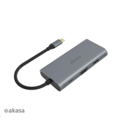 AKASA adaptér USB Type-C 9-in-1 Dock (PD Type-C, HDMI, VGA, 3 x USB 3.0 Type-A, RJ45, SD and Micro